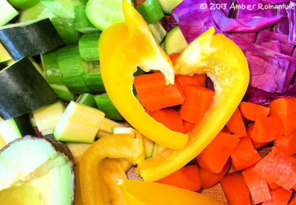 Raw Rainbow Veggie Salad