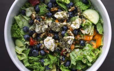 Blueberry Salad with Basic Roots Herb Cashew Cheese