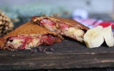 Peanut Butter & Strawberry Jam Banana Mountain Sandwich