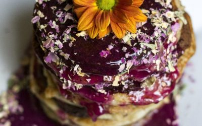 Chocolate Banana & Banana Pancakes with Pitaya Syrup