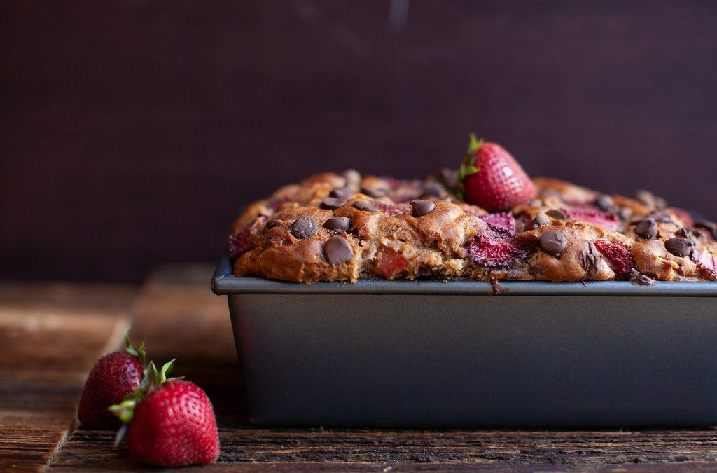 Dark Chocolate Chip Banana Strawberry Loaf