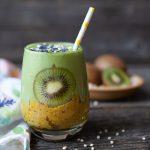 Green Kiwi Mango Smoothie with Banana Lemon Chia Bottom