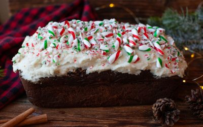 Chocolate Peppermint Loaf with Candy Cane Vanilla Icing