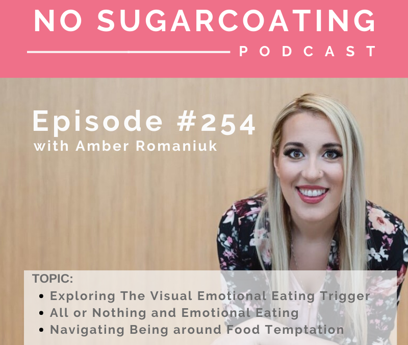 Episode #254 Exploring The Visual Emotional Eating Trigger, All or Nothing and Emotional Eating and Navigating Being around Food Temptation